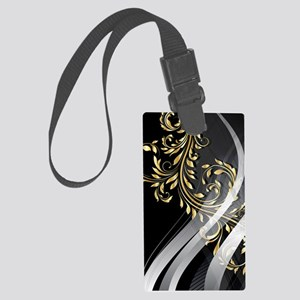 Gold Silver Floral (3G) Large Luggage Tag