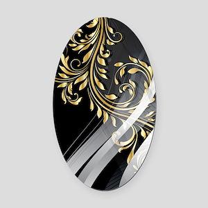 Gold Silver Floral (3G) Oval Car Magnet
