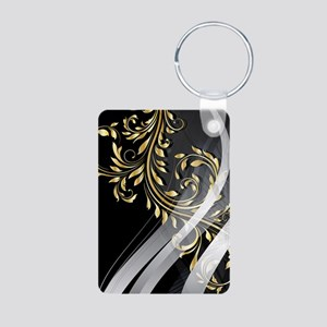 Gold Silver Floral (3G) Aluminum Photo Keychain