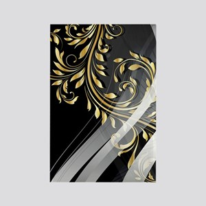 Gold Silver Floral (3G) Rectangle Magnet