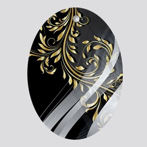 Gold Silver Floral (3G) Oval Ornament
