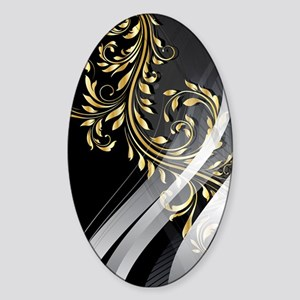 Gold Silver Floral (3G) Sticker (Oval)