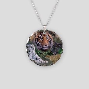 ip001528catsbig cats3333 Necklace Circle Charm