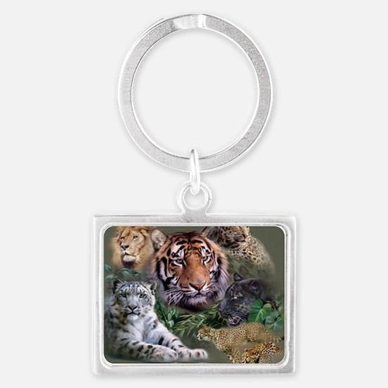 ip001528catsbig cats3333 Landscape Keychain