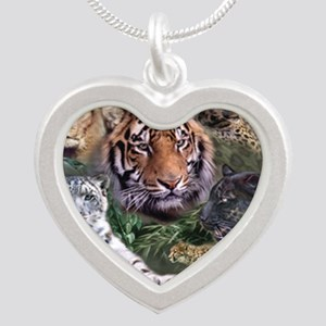 ip001528catsbig cats3333 Silver Heart Necklace