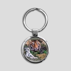 ip001528catsbig cats3333 Round Keychain