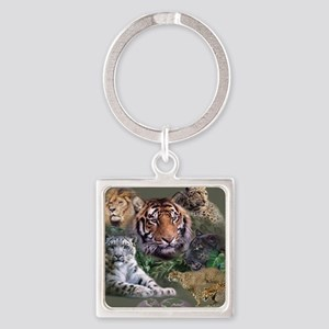 ip001528catsbig cats3333 Square Keychain