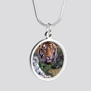 ip001528catsbig cats3333 Silver Round Necklace