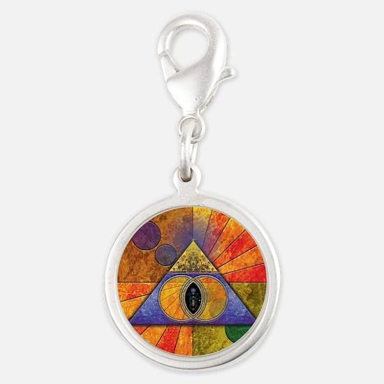 Sacred Pyramid Silver Round Charm