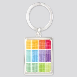 times table multiplication rainb Portrait Keychain