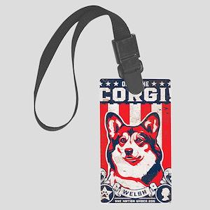corgi_usa_white Large Luggage Tag
