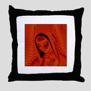 Virgen de Guadalupe - Red Throw Pillow