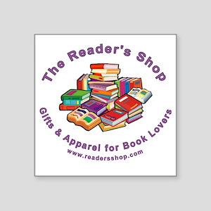"readers shop logo_10_blk Square Sticker 3"" x 3"""