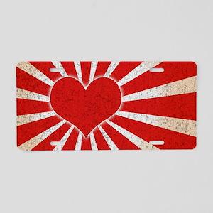 japan-flag-heart-OV Aluminum License Plate