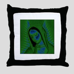Virgen de Guadalupe - Green Throw Pillow