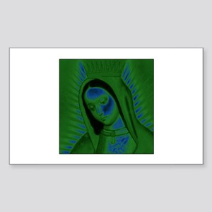 Virgen de Guadalupe - Green Rectangle Sticker