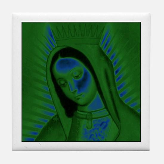 Virgen de Guadalupe - Green Tile Coaster