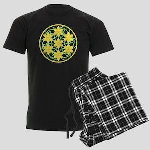 Daffodils Mandala Men's Dark Pajamas