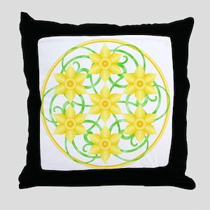 Daffodils Mandala Throw Pillow