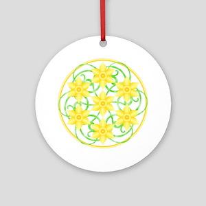 Daffodils Mandala Round Ornament