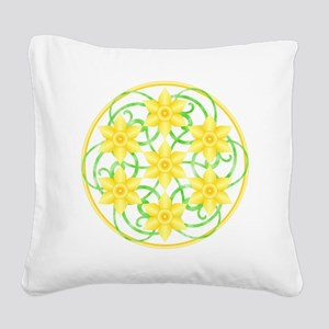 Daffodils Mandala Square Canvas Pillow