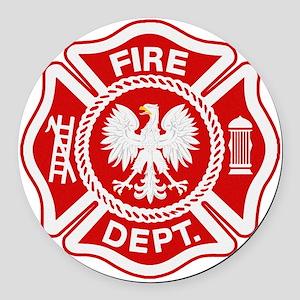 Polish Firemen t shirt Round Car Magnet