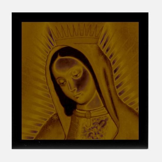Virgen de Guadalupe - Gold Tile Coaster