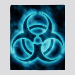 glowingBiohazard2blueJNL Throw Blanket