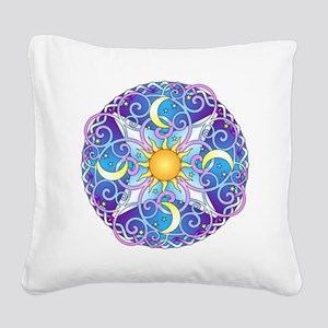 Celestial Mandala Square Canvas Pillow