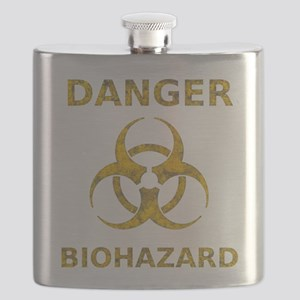 distressedBiohazardTextYGT Flask