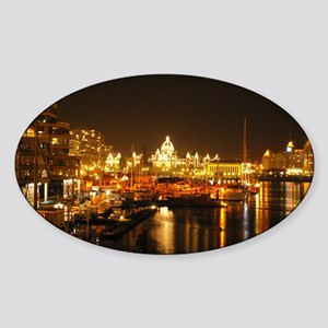 Victoria Harbour at night. Sticker (Oval)