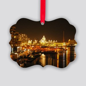 Victoria Harbour at night. Picture Ornament