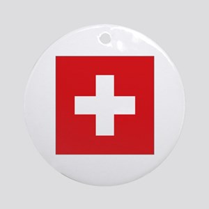 Swiss National flag Ornament (Round)