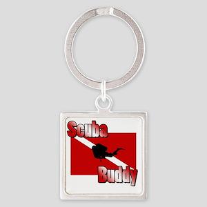 Scuba Buddy Square Keychain