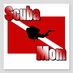 "Scuba Mom Square Car Magnet 3"" x 3"""