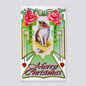 Vintage Christmas Cat 3'x5' Area Rug