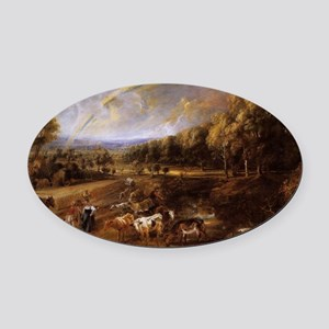 Landscape with Rainbow Oval Car Magnet