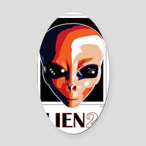Alien26_blnkt Oval Car Magnet