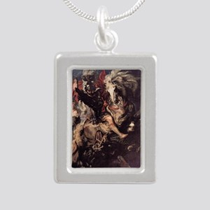 St George Fighting the D Silver Portrait Necklace