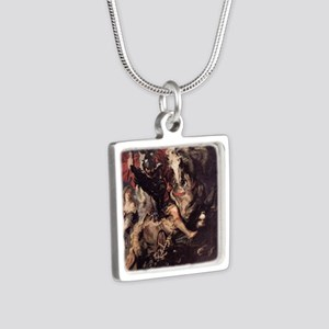 St George Fighting the Dra Silver Square Necklace