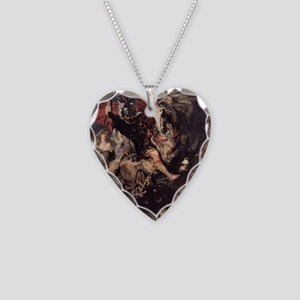 St George Fighting the Dragon Necklace Heart Charm