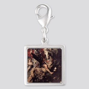St George Fighting the Dragon Silver Square Charm