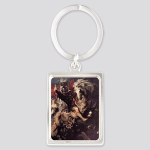 St George Fighting the Dragon Portrait Keychain
