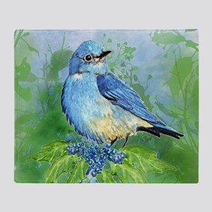 Watercolor Mountain Bluebird Bird nature Art Throw