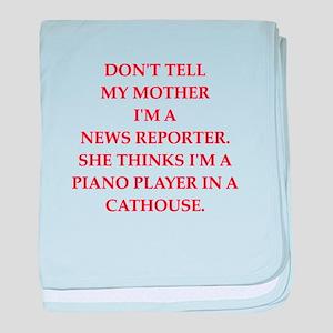 news reporter baby blanket