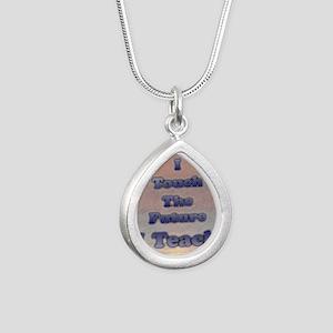 I_TEACH_square Silver Teardrop Necklace