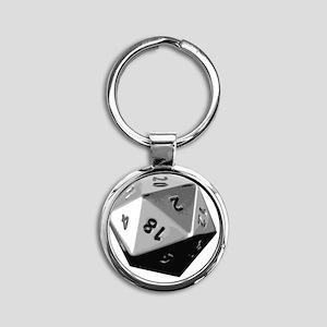 D20 Round Keychain
