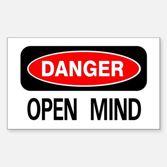Danger Open Mind Rectangle Decal