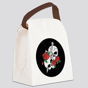 Skull, Roses and Sword Ornament Canvas Lunch Bag