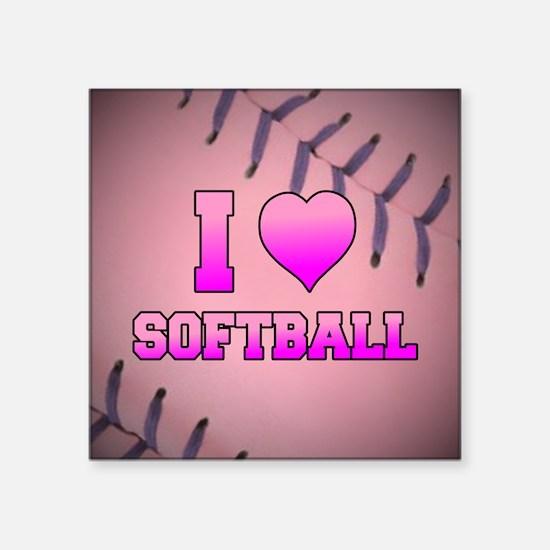 "Pink I Love Softball Square Sticker 3"" x 3"""